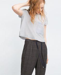 "Image 3 of ""ESSENTIALS"" DENIM CROP TOP from Zara Zara Tops, Denim Crop Top, Crop Tops, Harem Pants, Essentials, Ruffle Blouse, 3, Minimalism, Fashion"