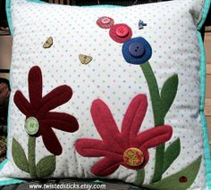 Quilted Throw Pillow Wool Applique Pillow by twistedsticks on Etsy, $59.00