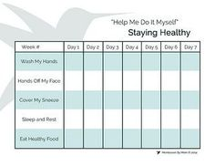 Staying Healthy Free Printable from Montessori By Mom with idea for using it as a Nose Blowing Station reminder