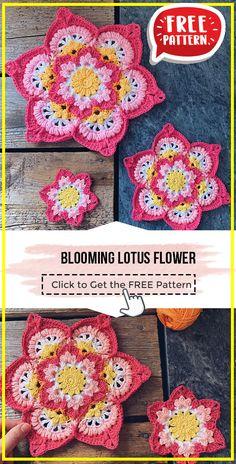 Pattern Flower, Crochet Flower Patterns, Crochet Motif, Crochet Flowers, Free Crochet, Knit Crochet, Crochet Home, Lotus Flower, Cold Weather