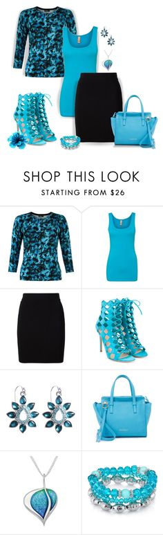 """""""~Floral Cardigan~ Turquoise~"""" by justwanderingon ❤ liked on Polyvore featuring Precis Petite, T By Alexander Wang, Gianvito Rossi, Brooks Brothers, Salvatore Ferragamo and 1928"""