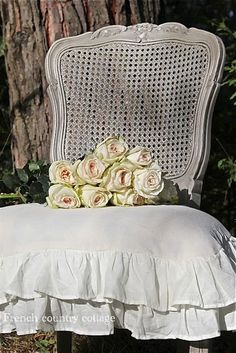 French Chair with Ruffled Cushion,,also want to paint my chairs...love this