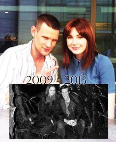 Matt and Karen :) #MattSmith #KarenGillan WHAT DID MATT FREAKING DO TO HIS HAIR???????