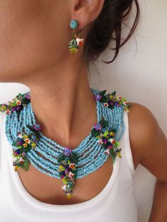 VINTAGE MASSIVE MIRIAM HASKELL TURQUOISE BEADED GLASS LEAF NECKLACE & EARRINGS