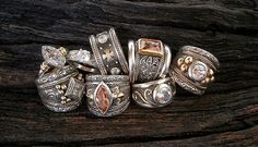 Medieval style handmade rings in gold and silver by South African jewellery designer Susan Roos