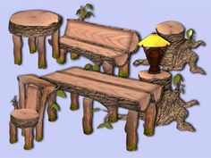 Wooden Furniture Set for The Sims 2 (TS2)