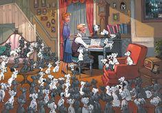 """Family Gathering"" by Rodel Gonzalez | Disney Fine Art | Disney's 101 Dalmatians"