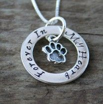 Love this personalized necklace to remember a pet who passed away...