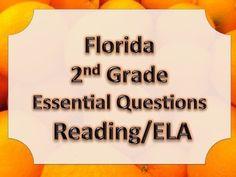 Florida 2nd Second Grade ELA ESSENTIAL QUESTIONS Blue Border