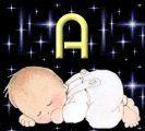 Alfabeto de bebé durmiendo.