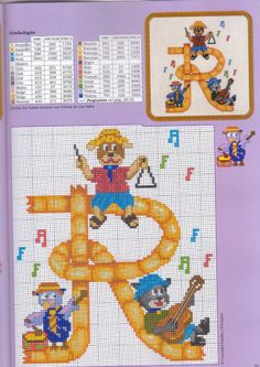 (8) Gallery.ru / Фото #20 - iniciales10 - geminiana Cross Stitch Alphabet, Cross Stitch Baby, Cross Stitch Patterns, Embroidery Fonts, Hama Beads, Hibiscus, Kids Rugs, Erika, Ideas Para