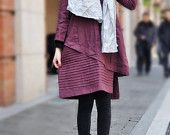 Layered Pleated Linen Dress in Purple/ Winter Dress Gown - Made to order