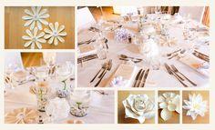 Tischdeko für eine romantisch-verspielte Traumhochzeit. Beige, Table Decorations, Furniture, Home Decor, Paper, Flowers, Nice Asses, Decoration Home, Room Decor