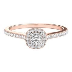 1/4 ct. tw. Diamond Halo Engagement Ring in 10K Rose Gold