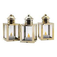 """3 Pack-Mini LED Lanterns With Flickering Flame Effect - 5"""" Tall - Gold Sterling Pear http://smile.amazon.com/dp/B014I9J1SK/ref=cm_sw_r_pi_dp_sYInwb017BV3J"""