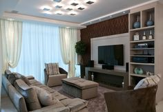 projetos/Brasil Day Room, Drawing Room, Flat Screen, Sweet Home, Shelves, Curtains, Living Room, Architecture, Design