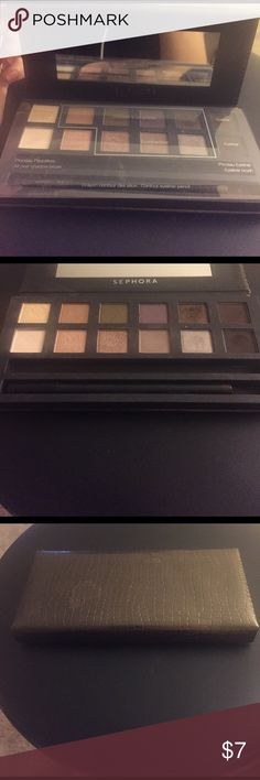 Sephora Eyeshadow Palette Sephora Eyeshadow Palette. Pre-loved but still has lots of life left. Missing brush. Comes with brown eyeliner never used Sephora Makeup Eyeshadow