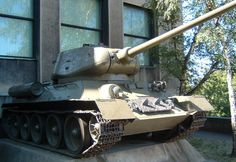 A Russian World War II T-34 tank displayed outside the Army museum in Prague.