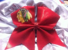 OMG! I need this even though I'm not a cheer leader I still want this!3 Cheer Bow Chicago blackhawks by SarahsCheerBows on Etsy