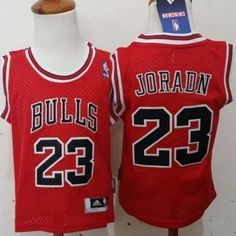 "$23.88 at ""MaryJersey"" (maryjerseyelway@gmail.com) Toddler Bulls 23 Michael Jordan Red Stitched NBA Jersey"