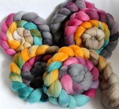 Merino Wool Roving - Hand Painted - Hand Dyed for Spinning or Felting - 4oz - Feather on Etsy, $18.77 AUD