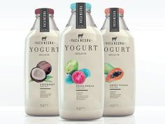 Packaging designed for Vaca Negra yogurt. We decided to make the flavor illustrations in watercolor. Hope you like it.