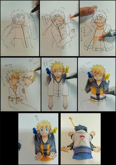 "Characters that are ""difficult to color because they move too much"" - Naruto So creative !"