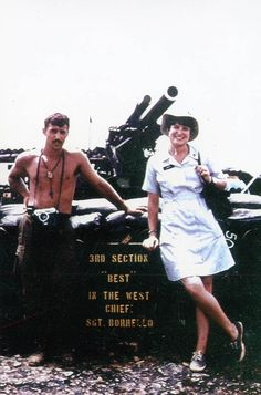 """Larry Young Hines, an American Red Cross """"Donut Dolly"""", at LZ West. June 1969"""