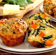 Cheesy pumpkin, spinach, feta & sun dried tomato muffins. Make 6 huge, Texas size or 12 normal sized muffins. Delicious warmed and slathered with butter.