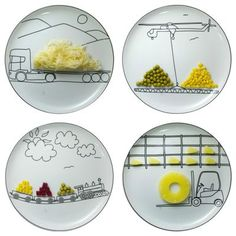 Who wouldn't want dinner when you can put it where it belongs on your plate? So cute!!