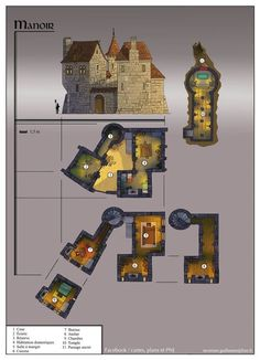 DONE Manoir - Photo: For this weekend, a small manor :) Fantasy City, Fantasy Castle, Fantasy House, Fantasy Places, Fantasy Map, Medieval Fantasy, Dungeons And Dragons, Rpg Pathfinder, Rpg Map