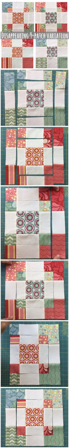 Disappearing 9 patch variation block with charm squares - Deutschland Ideen 2020 Patchwork Quilting, Scrappy Quilts, Easy Quilts, Quilting Tips, Quilting Tutorials, Machine Quilting, Modern Quilting, Quilting Fabric, Charm Pack Quilts