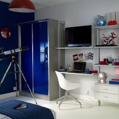 Modern storage for a teen boy's bedroom | Teenage boy's room design ideas | PHOTO GALLERY | Ideal Home | Housetohome.co.uk