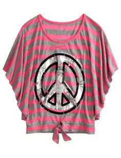 Girls Clothing | Circle Tops | Striped Graphic Circle Top | Shop Justice