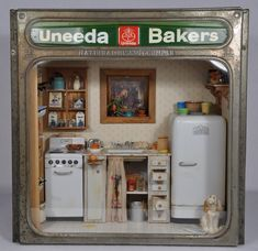 1:12 scale Miniature kitchen scene made inside of a 1940's metal Uneeda Bakers National Biscuit Tin box by MiniatureMadness