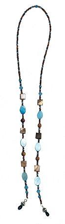 Aqua/Brown/Amber Glass Bead String Theory Chain