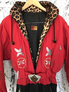 fa6849191d2e Bogner One Piece Ski Suit Black Red Embroidered Tribal Cheetah Snowboarding  8 10