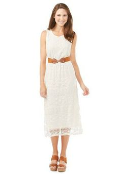 ee3274efce Cato Fashions Belted Lace Midi Dress-Plus  CatoFashions http   www.