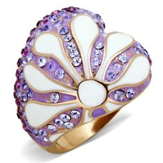This beautiful multicolor conch shell cocktail ring glistens in the sun with its beautiful array of top grade crystals and epoxy. This ring contains a base of IP rose gold plated stainless steel for quality and durability that will endure many wears.