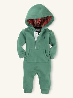 Hooded Fleece Coverall - One-Pieces Layette Boy (Newborn-9M) - RalphLauren.com