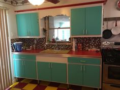 """My moms retro kitchen. A """"Blast from the Past""""."""