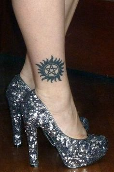 Yes, my Supernatural tattoo, just a wee bit obsessed... Not to mention the awesome shoes.  Ha!