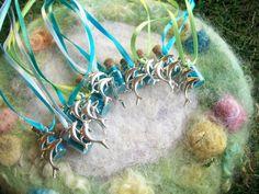 Серебряный дельфин Русалка партия выступает, Luau / пляж / Surf / Flipper партии, океанограф, серфер, любитель пляжа, волшебный Sparkle ожерелье