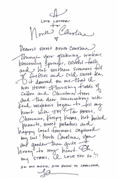 a love letter to North Carolina from Lara Casey. I did this a year ago in my journal when we moved from Seattle back down south. gonna rewrite it & frame it in studio Southern Weddings, Southern Belle, Southern Charm, Southern Living, Southern Pride, Chapel Hill, Asheville, Charlotte Nc, Quotes To Live By