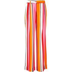 P.A.R.O.S.H. stripe flared trousers ($509) ❤ liked on Polyvore featuring pants, flared pants, pink pants, striped flare pants, multi color pants and multi colored pants