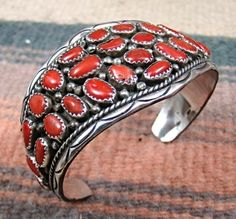 Item # 772Z - Vintage Navajo 29pc Coral Cluster Bracelet