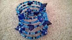 Oceana Bracelet  Beaded Memory Wire Bracelet in by luckyblacksheep, $13.00
