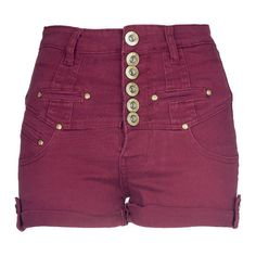 Wine High Waisted Shorts With Buckle Detail - Clothing -... ($28) ❤ liked on Polyvore