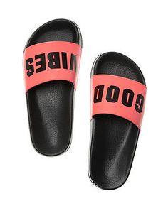 """Victoria's Secret PINK Slides Sandal Flip Flops """"GOOD VIBES"""" Size M NIP"""