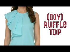 In this tutorial, Learn How to stitch Ruffle Top in a very easy way. Kurti Neck Designs, Dress Neck Designs, Dress Sewing Patterns, Clothing Patterns, Fashion Sewing, Diy Fashion, Trendy Fashion, Diy Clothes Tops, Stitching Dresses
